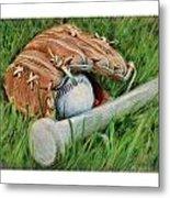 Baseball Glove Bat And Ball Metal Print
