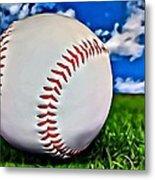 Baseball In The Grass Metal Print