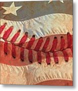 Baseball Is Sewn Into The Fabric Metal Print by Heidi Smith