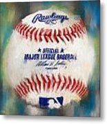 Baseball Iv Metal Print by Lourry Legarde