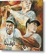 Baseball Legends Babe Ruth Jackie Robinson And Ted Williams Metal Print by Christiaan Bekker