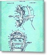 Baseball Mask Patent Blue Us2627602 A Metal Print
