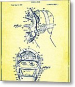 Baseball Mask Patent Yellow Us2627602 A Metal Print