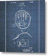 Baseball Mitt By Archibald J. Turner - Vintage Patent Blueprint Metal Print