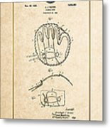 Baseball Mitt By Archibald J. Turner - Vintage Patent Document Metal Print