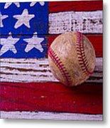 Baseball On American Flag Metal Print
