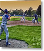 Baseball On Deck Circle Metal Print
