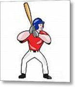 Baseball Player Batting Front Isolated Cartoon Metal Print