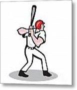 Baseball Player Batting Side Cartoon Metal Print by Aloysius Patrimonio