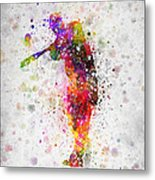 Baseball Player - Taking A Swing Metal Print