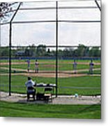 Baseball Playing Hard 3 Panel Composite 01 Metal Print