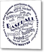 Baseball Terms Typography Blue On White Metal Print