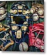 Baseball Vintage Gear Metal Print
