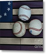 Baseballs On American Flag Folkart Metal Print
