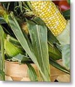 Basket Farmers Market Corn Metal Print
