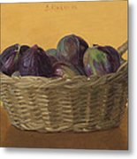 Basket Filled With Figs Metal Print
