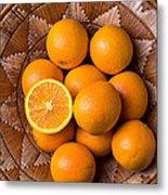 Basket Full Of Oranges Metal Print
