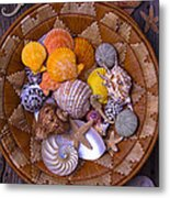 Basket Full Of Seashells Metal Print