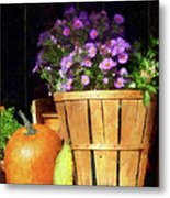 Basket Of Asters With Pumpkin And Gourd Metal Print