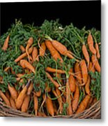 Basket Of Carrots Metal Print