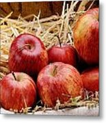 Basket Of Delicious Red Apples Metal Print