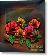 Basket Of Hibiscus Flowers Metal Print