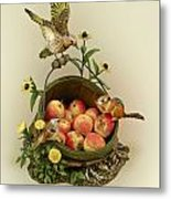 Basket Of Peaches And Flicker Metal Print by Mary Mcgrath