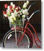 Basket Of Tulips Metal Print