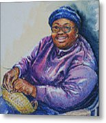 Basket Weaver In Blue Hat Metal Print by Sharon Sorrels