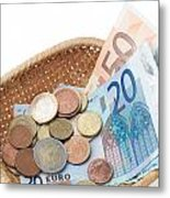 Basket With Coins And Banknotes Metal Print
