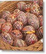 Basket With Easter Eggs Metal Print