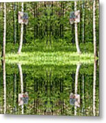 Basketball Forest Court Reflection 1 Metal Print