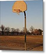 Basketball Goal At Sandy Point Metal Print
