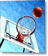 Basketball Hoop And Ball 1 Metal Print by Lanjee Chee