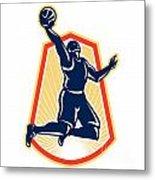 Basketball Player Dunk Rebound Ball Retro Metal Print