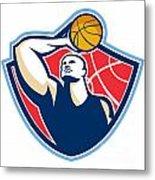 Basketball Player Rebounding Ball Retro Metal Print by Aloysius Patrimonio