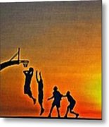 Basketball Sunrise Metal Print