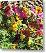 Basketful Of Flowers Metal Print