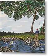Bass Fishing In The Stumps Metal Print