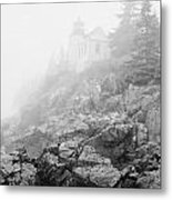 Bass Harbor Head Light In Fog Metal Print