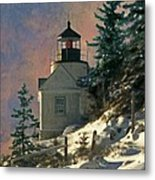 Bass Harbor Light In A Winter Storm Metal Print