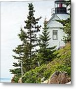 Bass Harbor Light Station Overlooking The Bay Metal Print