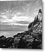 Bass Harbor Lighthouse At Dusk Metal Print