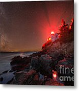 Bass Harbor Lighthouse Milky Way Metal Print