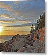 Bass Harbor Lighthouse Sunset Landscape Metal Print