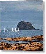 Bass Rock And Sail Boats Metal Print