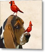 Basset Hound And Red Birds Metal Print