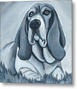 Basset Hound In Black And White Metal Print