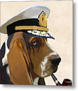 Basset Hound Seadog Metal Print