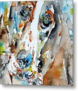 Basset Hound - Watercolor Portrait.1 Metal Print